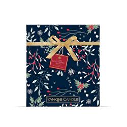 Adventní kalendář Countdown to Christmas 12 ks votivních svíček, 12 ks čajových svíček + 1 svícen