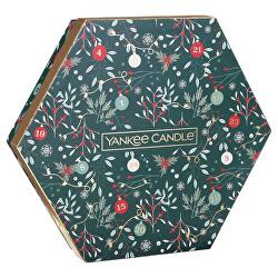 Dárková sada čajových svíček se svícnem Countdown to Christmas 18 x 9,8 g