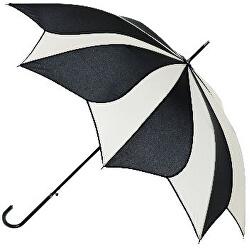 Dámsky palicový vystreľovací dáždnik Black and Cream Swirl Umbrella