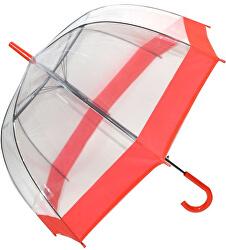 Dámský průhledný holový deštník Clear Dome Red