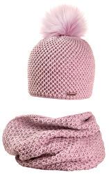 Set pentru femei căciulă și fular ( tunel )- roz
