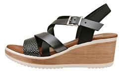 Dámske kožené sandále 7047G / SEM-24 Tiburon Negro / Lam. Antracita / Vaq. Negro Segal Madera-beige