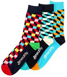 Férfi zokni szett 3D Checkers socks S19