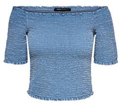 Dámske tričko ONLANDREY OFF SHOULDER DNM TOP Medium Blue Denim