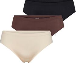 3 PACK - dámské kalhotky ONLTRACY 15211634 Black,Nude,Chicory Coffee
