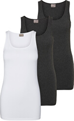 3 PACK - Maiou pentru femeiVMMAXI MY SOFT LONG 10229554Bright alb &Dark Grey Melange