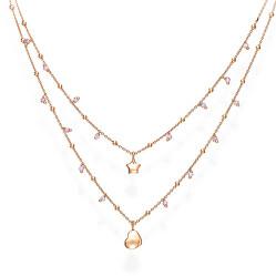 Dvojitý pozlacený náhrdelník se zirkony Candy Charm CL2STCRL
