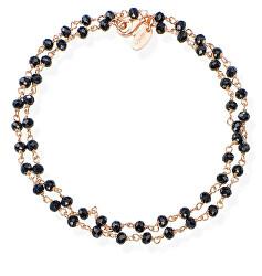 Romance BRRN34 aranyozott dupla karkötő fekete kristályokkal