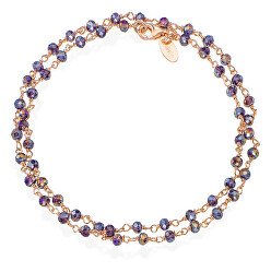 Romance BRRVS34 dupla aranyozott karkötő lila színű kristályokkal