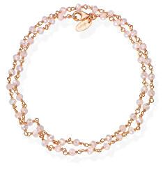 Romance BRRR34 aranyozott dupla ezüstkarkötő rózsaszín kristályokkal
