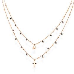 Dvojitý růžově pozlacený náhrdelník se zirkony, srdcem a křížem Candy Charm CL2CUCRN