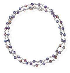 Romance BRBVS34 dupla ezüstkarkötő lila színű kristályokkal