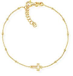 Módní pozlacený náramek s křížkem Pray, Love BRCRG3
