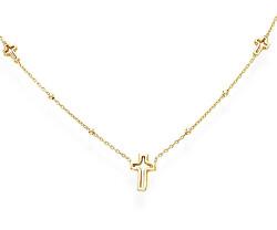 Nadčasový pozlacený náhrdelník s křížky Pray, Love CLCRG3
