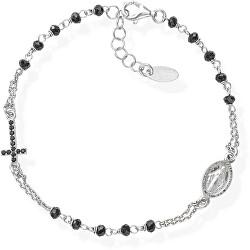 Nadčasový stříbrný náramek s krystaly Rosary BRO25BNZ3