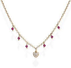 Ružovo pozlátený strieborný náhrdelník so zirkónmi a kryštály Romance CLCRROZ