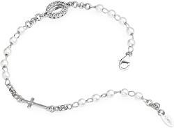 Originální stříbrný náramek s perlami a zirkony Rosary BROBBZ-M3