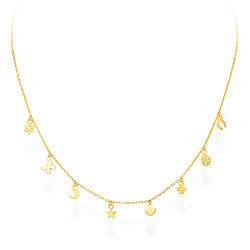 Pozlacený stříbrný náhrdelník s přívěsky Romance CLLAFOG