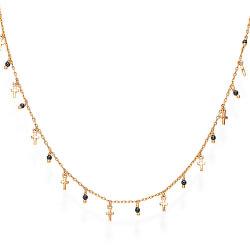 Růžově pozlacený náhrdelník s krystaly a křížky Candy Charm CLMICRRN