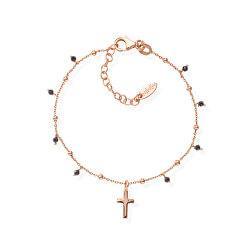 Růžově pozlacený náramek s křížem a zirkony Candy Charm BRCRRN3