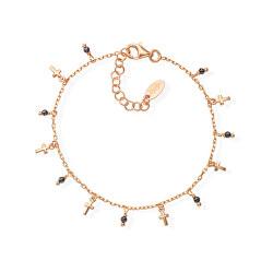 Růžově pozlacený náramek s krystaly a křížky Candy Charm BRMICRRN