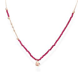 Růžově pozlacený stříbrný náhrdelník s krystaly a srdcem Love CLCOCURR3