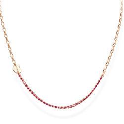 Růžově pozlacený stříbrný náhrdelník s krystaly a srdíčkem Love CLCRICURR