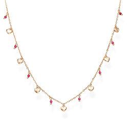 Růžově pozlacený stříbrný náhrdelník s krystaly a srdíčky Candy Charm CLMICURRO