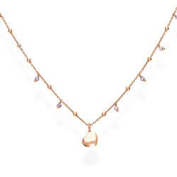 Růžově pozlacený stříbrný náhrdelník s krystaly a srdcem Candy Charm CLCURL3