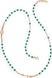 Růžově pozlacený stříbrný náhrdelník s krystaly Rosary CRORV3