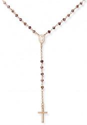 Růžově pozlacený stříbrný náhrdelník s krystaly Rosary CRORVI4