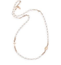 Růžově pozlacený stříbrný náhrdelník s perlami Rosary CRORB3