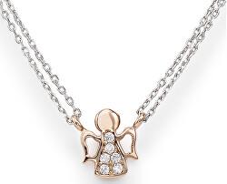 Růžově pozlacený stříbrný náhrdelník se zirkony Angels CL2ABR