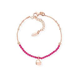 Růžově pozlacený stříbrný náramek s krystaly a srdcem Love BRCOCURR3