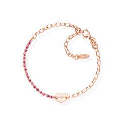 Růžově pozlacený stříbrný náramek s krystaly a srdíčkem Love BRCRICURR