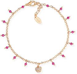 Ružovo pozlátený strieborný náramok s kryštálmi a zirkónmi Romance BRCRROZ