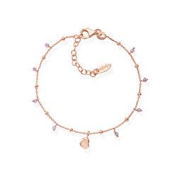 Růžově pozlacený stříbrný náramek s krystaly a srdcem Candy Charm BRCURL3