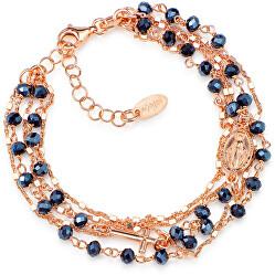 Růžově pozlacený stříbrný náramek s krystaly Rosary BRMFRG