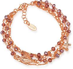 Růžově pozlacený stříbrný náramek s krystaly Rosary BRMFV