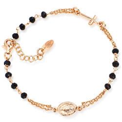 Růžově pozlacený stříbrný náramek s krystaly Rosary BRORN3