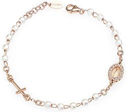 Růžově pozlacený stříbrný náramek s perlami a zirkony Rosary BRORBZ-M3