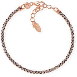 Růžově pozlacený stříbrný náramek se zirkony Tennis BTRN16