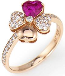 Rózsaszín aranyozott ezüst gyűrű szerelem RQURR