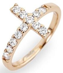 Růžově pozlacený stříbrný prsten se zirkony Rosary ACORB