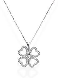 Stříbrný náhrdelník pro štěstí Pray, Love CLPBQUBZ (řetízek, přívěsek)