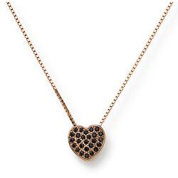 Stříbrný náhrdelník s černými zirkony Pray, Love CLPHRN (řetízek, přívěsek)