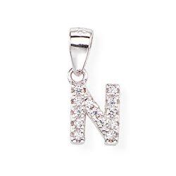 Stříbrný přívěsek se zirkony Písmeno N Letterami L-N