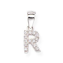 Stříbrný přívěsek se zirkony Písmeno R Letterami L-R