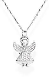 Třpytivý stříbrný náhrdelník se zirkony Angels A3BB (řetízek, přívěsek)