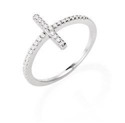 Třpytivý stříbrný prsten se zirkony Diamonds RCRBBZ